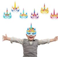 Wholesale photos animal online - 12pcs Unicorn Party Masks Rainbow Birthday Paper Masks Unicorn Party Decoration Mask Photo Props KKA5923