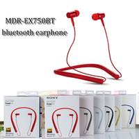 Wholesale Earphones Mdr - New hangable earphone MDR-EX750 wireless bluetooth in ear earphone stereo sports sweatproof neckband earphone headset with microphone