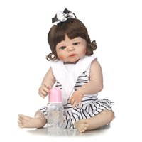 Wholesale touch dolls toys - 57cm Reborn toy full silicone reborn baby girl doll for child gift real alive soft touch bebe realistic reborn bonecas Vinyl Doll