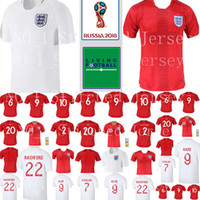 Wholesale d e - E d Soccer Jersey 2018 World Cup 9 Harry Kane 10 DELE Football Shirt Uniform Team White Red 8 LAMPARD 22 RASHFORD