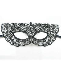 Wholesale sexy female masks - 5PC Girls Woman Lady Black Mask Masquerade Cutout Female Mask Lace Sexy Party Masks Halloween Dance Masks Festive Supplies