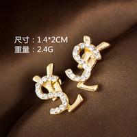 Wholesale White Gold Ruby Earrings - Wholesale!14K Brands Designer Pearl Pendant Letter Earrings Diamond Stud Earrings Wedding Dance Jewelry Gift Accessories B3