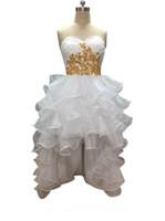 красивые высокие платья выпускного вечера оптовых-Специальный Высокий Низкий Пром Платье Красивые Короткие Спереди Длинные Назад Аппликация Оборками Девушка Вечерние Платья
