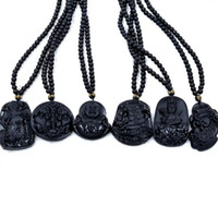 обсидиановый дракон оптовых-Natural Obsidian Carved Dragon Black Obsidian Necklace Pendant Black Buddha Necklace Pendant Drop Shipping Carving Chinese Gift