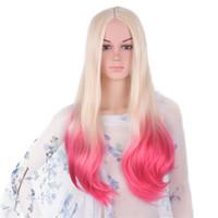 ingrosso capelli in fibra giapponese-Capelli di Mtmei Ombre Bionda parrucca rosa Sintetica fibra giapponese lunghi capelli ondulati 60cm 300g Grigio Viola Parrucche Cosplay colorate