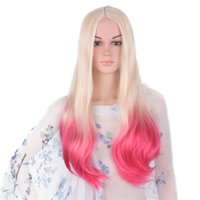 Wholesale Wig Purple Long Dark - Mtmei hair Ombre Blonde Pink Wig Synthetic Japanese Fiber Long Wavy Hair 60cm 300g Gray Purple Colored Cosplay Wigs