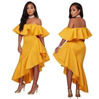 ingrosso vestiti di loto-Commercio all'ingrosso 2018 nuovo stile collo barca Lotus Leaf Designer Dress Sexy avvolto nel petto abiti casual a vita alta colore solido vestiti delle donne