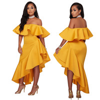 Wholesale clothes wraps online - New Style Boat Neck Lotus Leaf Designer Dress Sexy Wrapped In Chest Casual Dresses High Waist Solid Color Women Clothes