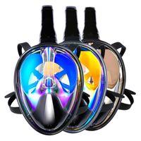 espelho anti nevoeiro venda por atacado-Adultos Crianças Snorkeling Set Anti-nevoeiro anti-UV Mergulho Completo Dry Snorkel Máscara de Natação em Esp ...