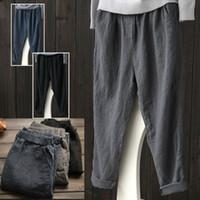 Wholesale black baggy trousers women - Women Linen Harem Pants Baggy Loose Trousers Casual Lady Waistband