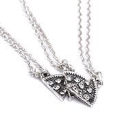 Wholesale pizza factory - antique silver best friends pizza pendant necklace low price factory direct sale