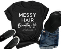 ingrosso bei vestiti neri-MESSY HAIR BELLA VITA Maglietta popolare Hipster Unisex Abbigliamento nero Tee Summer Slogan Lettera Harajuku Abiti in cotone di qualità