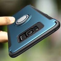 галактика автомобильный держатель оптовых-Чехол для телефона для Samsung Galaxy S7 Edge S8 S9 Plus Note 8 Роскошные противоударные чехлы Case Metal 360 Finger Ring Holder Car Combo Cover