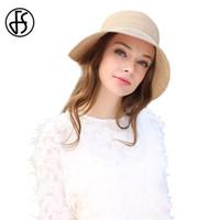 b951805dd9c FS Womens Straw Bucket Hats 2017 Fashion Floppy Wide Brim Sun Visors For  Ladies With Big Head Casual Beach Sunhat