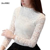 coreano largo encaje blusa al por mayor-SEXMKL 2018 blusa de encaje blanco de manga larga ahueca hacia fuera blusas de otoño coreano moda ropa Sexy Ladies Office camisa superior femenina