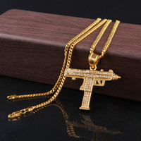 Wholesale gold filled cuban chains for men resale online - Hip Hop Gun Pendant Necklaces For Men Women Gold Color Ice Out Rhinestone Charm Pendant Gold Cuban Chain Statement Necklace Jewelry
