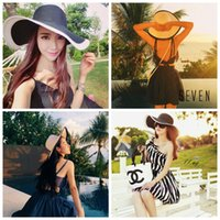 Wholesale green straw hat online - Summer Wommen Sun Hat Fashion Black and white stripes summer hat Folded Sun Protection beach sunscreen straw hat LJJG23