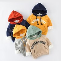 Wholesale baby clothes sweatshirt for sale - Group buy Baby Clothes Kids Outfits Long Sleeve Cotton Hoodies Sweatshirts Boy Winter Warm Cotton Outwear Infant Clothing with Colors