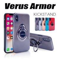 étui iphone verus achat en gros de-Antichoc Kickstand Verus Cas Pour iPhone X 360 Degrés Spinning Béquille Couverture Transparent Armure Cas Pour iPhone X 8 Plus 7 6 6S MOQ: 50pc