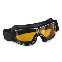 lunettes de pilote steampunk achat en gros de-Aviator Moto Lunettes Lunettes Vintage Steampunk Style Pilote Moto Moto Lunettes Rétro Pour Hommes Protection UV