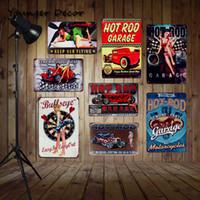 hot rod dekorationen großhandel-Hot Rod Garage Retro Blechschilder Original Teile Alle Motorräder Wandkunst Geschenk Malerei Plaques Bar Pub Dekoration YA098