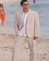 hombre traje de boda ropa al por mayor-Últimos trajes de hombre de lino para el verano trajes a medida chaqueta de vacaciones 2 piezas Tuxedo Light Beige traje de boda chaqueta + pantalones