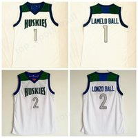 Wholesale color white jersey basketball - Men New 1 Lamelo Ball Chino Hills Huskies Jersey White Color 2 Lonzo Ball High School Basketball Jerseys Sport Stitched Uniform High Quality