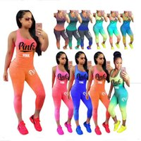 Wholesale motorcycle pants women - Love Pink Letter Gradient Outfit Sleeveless Tank Top Vest + Tights Pants Leggings Tracksuit Summer Women Sportswear Jogging Suits Plus Size