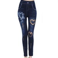 xxl hohe taillenjeans großhandel-Lily Flower Cutout Sexy Leggings Neue Hohe Taille Skinny Jeans Hose Stretchy Denim Bleistift Hosen Für Frauen S-3XL