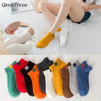 Wholesale color collage - New fashion women's collage wind vintage socks chic streetwear sokken with candy color label printing wild girls boat sokken