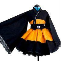 ingrosso naruto cosplay-Anime giapponese Naruto Shippuden Uzumaki Naruto costumi cosplay Lolita Kimono cosplay Costume Halloween Dress
