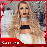 Wholesale Hot Selling Ombre Blonde Wavy Wigs with Baby Hair Brown Roots Glueless Synthetic Lace Front Wigs For Women Heat Resistant High Quality Wig