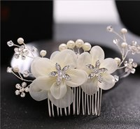 pentes de cabelo de flor de seda venda por atacado-Flor de seda diamante cocar flor cabelo pente liga de noiva requintado