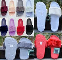 Wholesale womens slide sandals - Original Rihanna Fenty Leadcat Fur Slides Slippers Slides Sandal Pink Black White Gray Womens Warm Indoor Slippers Rihanna Sneakers Shoes