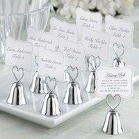 çan kartları toptan satış-300 adet / grup + Düğün Masa Kart Tutucu Gümüş Kalp Öpüşme Bell Yeri Kart Tutucu Düğün FavorsSupplies + ÜCRETSIZ KARGO