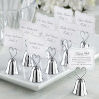Wholesale Table Place Holders Wedding - 300pcs Lot+Wedding Table Card Holder Silver Heart Kissing Bell Place Card Holder Wedding Favors&Supplies+FREE SHIPPING