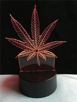 Wholesale color changing baby night light - Maple Leaves 3D Visual Illusion Lamp Acrylic Night Light Color Changing Baby Room Christmas Table Atmosphere decoration Light