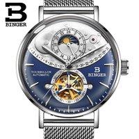 relógios mecânicos dos homens do binger venda por atacado-Suíça Relógio Automático Dos Homens BINGER Esqueleto Azul Mecânico Homens Relógios de Aço Completo Safira Relogio masculino À Prova D 'Água