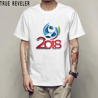 Wholesale printed football jerseys - 2018 World Cup Apparel t-shirt short-sleeved men Russia Germany Argentina theme shirt women football fans jersey