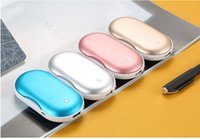 Wholesale hand warmer power bank - Hand Warmer 4000mAh Portable Rechargeable Double-Side Pocket Hand warmers For Women Men Portable Power Bank For iPhone  Samsung Galaxy