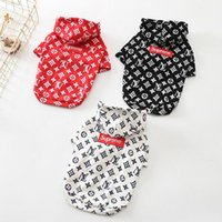 Wholesale warm sweaters for dogs - SUP Printed Hoodies For Dog Cat Teddy Puppy Apparel Autumn Warm Outwears Black White Red Sweater Clothing