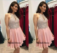 Wholesale young cap - Beading Pink Homecoming Dresses A Line Chiffon Sequins Crystals Sparkly Sleeveless Short Prom Dresses for Young Girl's Graduation Gowns