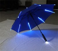 Wholesale night light automatic - Creative LED Light Umbrella Blade Runner Night Protection Umbrellas Anticorrosive Novelty Paraguas For Decorations Many Colors 38jn Y RZ