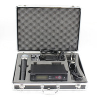 Wholesale wireless microphone transmitter system - Hot Aluminum Case Box SLX24 BETA58 UHF Wireless Microphone Cordless Karaoke System With Handheld Transmitter Mic