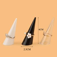 Wholesale jewelry ring holder finger display - 2018 Fashion New Popular 21PCS Lot Mini Jewelry Finger Ring Holder Triangle Cone Jewelry Display Shelf Rack Stand Wholesale price