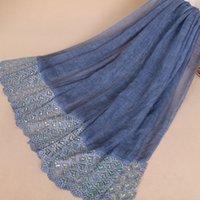 ingrosso big lace scarf-Scialli stile nazionale scialli donne pizzo Mujer Bufanda moda patchwork sciarpa sciarpe big size hijab musulmano 90x190 avvolgere