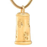 Wholesale paw print necklaces for sale - Group buy Memorial Pendant with Paw Prints Cremation Jewelry for Pets Stainless Steel Pet Ashes Holder Memorial Urn Necklace