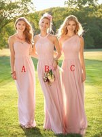 Wholesale blush one shoulder dress - 2018 Blush Pink Long Country Style Bridesmaid Dresses Ruched One Shoulder Sweetheart Backless Cheap Maid of the Honor Dresses