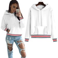Wholesale White Hoodies For Ladies - Sweatshirt For Women 2017 Korean Style Striped Patchwork Tracksuit Femme Pullover Autumn Jumper Ladies Casual Hoodies Tops