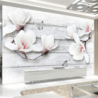 Wholesale wall decor butterfly blue for sale - Photo Wallpaper D Stereo Magnolia Flowers Butterfly Wood Grain Murals Living Room TV Sofa Background Wall Home Decor Wall Paper